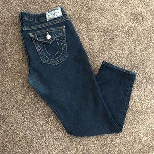 True Religion Dark Wash skinny Ankle Jeans